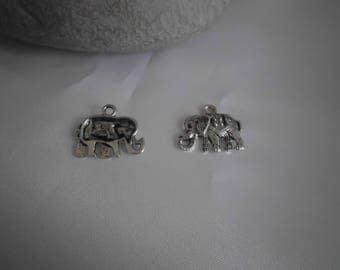20mm x 15mm silver metal elephant charm