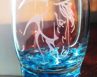 25 cl with personalized color background - burning water glass horse head + text
