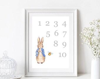 Peter Rabbit Numbers Nursery Print
