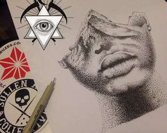 Dotwork/pointillism double exposure