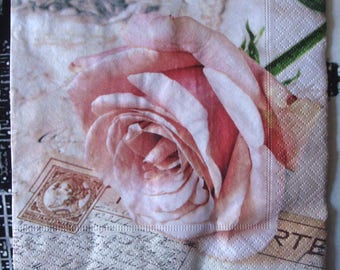 """Napkin """"vintage pink"""", 33 x 33, sold by 3, for collage"""