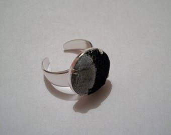 Handmade fabric black and grey ring