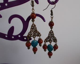 Earrings bronze TRISKEL with RUST and TURQUOISE beads