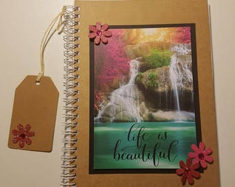 A5, Notebook, Waterfall, Embellishment, Notes, Journal