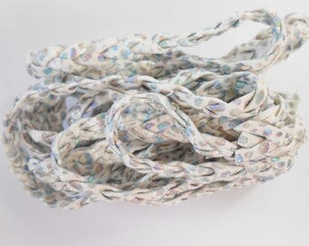 PU white dotted shiny 9 mm braided cord