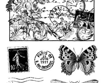 MAXI Board ARTEMIO stamp stamp set stamp SCRAPBOOKING 19x15cm Dragonfly Butterfly post