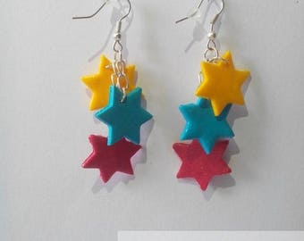 Earrings pink stars, yellow and blue