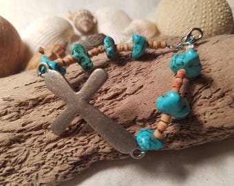 Silver Cross Bracelet with Turquoise/Cork