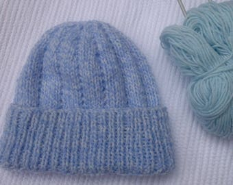 Baby beanie, with a deep brim for a snug fit, hand knitted in double knit acrylic, ideal gift for a new baby or a baby shower,easy care .
