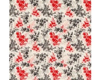 fabric patchwork red and black leaves white ref 1206011