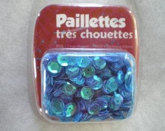 bag of sequins sewing sparkling, pearly blue
