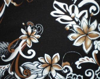 patchwork fabric bottom black white flowers and Brown ref 7471pb