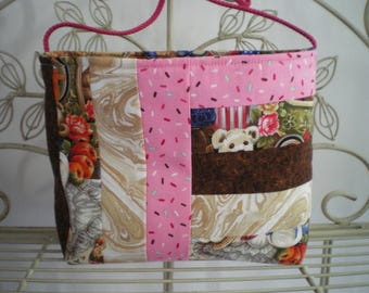 your pink patchwork fabric handbag