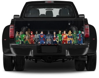 Truck Tailgate Comics Graphics Super Heroes Vinyl Decal Full Color Sticker Trunk Wrap