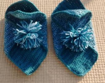 Heather blue cottage crochet slippers