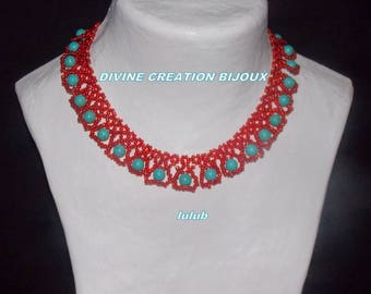 Red and turquoise lace with magnetic clasp necklace