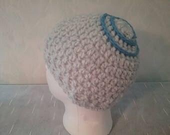 Summer-Beanie / hat with spiral patterns, pastel blue