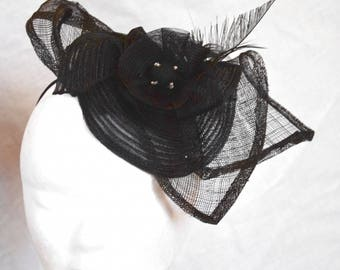 fascinator Black Hat elastic