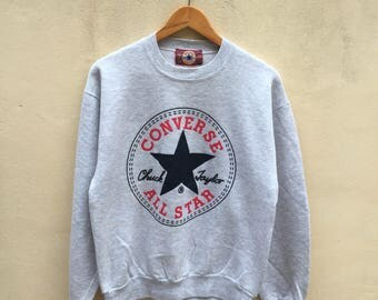 Vintage converse made in usa sweatshirt pullover jumper big logo all star one star chuck taylor gray color rare!