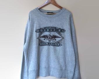 Double RL Ralph Lauren Workwear Big Logo Crewneck Sweatshirt Jumper Pullover Size XL Vintage 90s