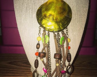 Seashell with bead and suede