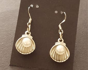Earrings - Drop, Pearl and Oyster