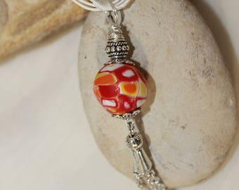 summer yellow red Bead Necklace orange and white