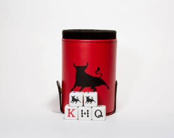 Fighting Bull Elegant Dice Cup with Storage Compartment. 5 Engraved Poker Dice