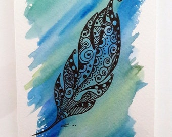 """Card """"Feather color"""" done in watercolor"""