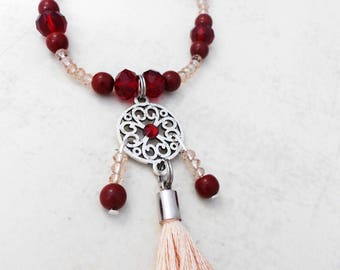 Necklace adjustable dreamcatcher nude color and Red Crystal beads and cotton tassel