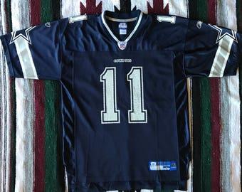 Reebok NFL Dallas Cowboys Drew Bledsoe Double Star Football Jersey Size L