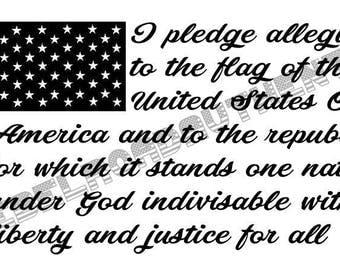 Pledge of Allegiance Patriotic Flag Vinyl Decal