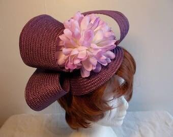 Bibi fascinator headdress mauve light purple wedding ceremony