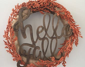 Hello Fall Wreath, Autumn wreath, Hello Wreath, Orange wreath