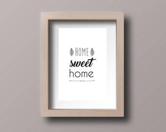 Affiche Home Sweet Home Poster Texte Déco Phrases Typo Hygge Zen Minimaliste Cadre Déco Salon Affiche Décoration Art