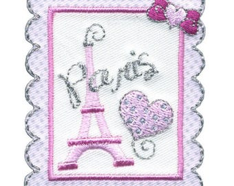 patch fusible romantic Paris pink