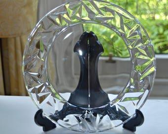 """Tiffany & Co Crystal Plate - ROCK Cut - 20cm / 7.9"""""""