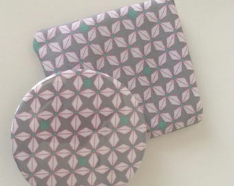 Pocket mirror & pretty geometric patterned gray fabric pouch