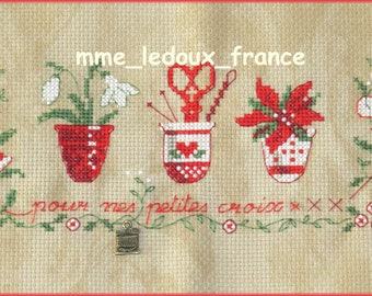 """Embroidered Point de Croix """"for my small cross"""" - v pattern - on order"""