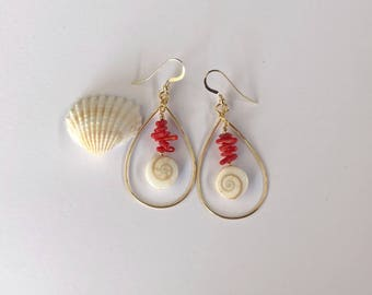 Gold Teardrop Hoop, Shiva Shells, Red Coral