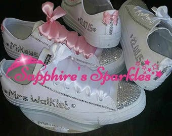 Customised Bling Brides White Crystal Mono Converse