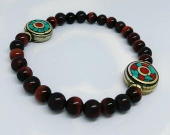 Tibetan Tibetan beads and Red Tiger eye bracelet