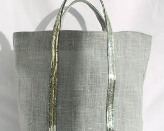 The bag in 100% linen green Claire with Pistachio green sequins