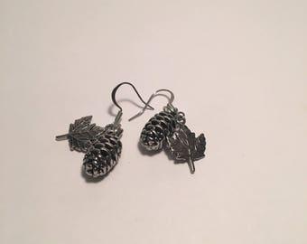 Leaf Pinecone Earrings