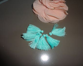6 x turquoise blue cotton tassels