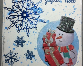 Blue and white snowman Christmas card
