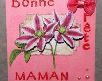 Card 3D pink lily mother's day.