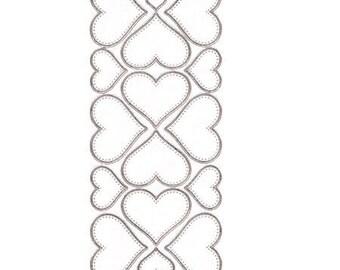Sticker sewing hearts silver edge - STI9103088