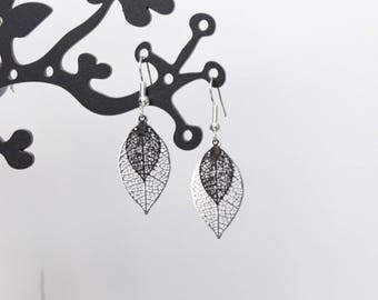 Black and silver leaf earrings