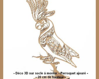 Deco 3D stand up properly - openwork Parrot - 20 cm tall.